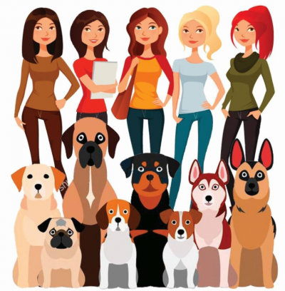 Girls of Dog Rescue (Tustin, California) logo with five girls standing behind eight dogs