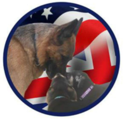 Give a Dog a Home, German Shepherd Dog Rescue (Sebec, Maine) logo with German shepherd and American and British flags