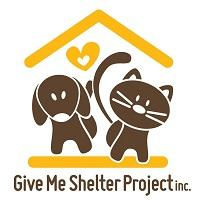 Give Me Shelter Project (Flushing, New York) logo with brown dog and cat characters under a house