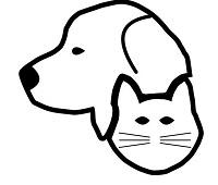 God Only Knows Animal Rescue, Inc. (Chatsworth, Georgia) logo with black and white outline of a cat and dog
