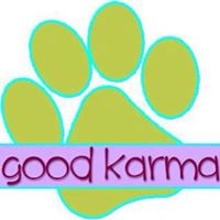 "Good Karma Animal Rescue of MN (Maple Grove, Minnesota) logo is a pawprint with ""good karma"" in a text box near the bottom"