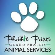 Grand Prairie Animal Services (Grand Prairie, Texas) logo with blue and green background with white paw print