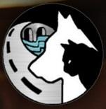 Grant County Animal Outreach (Moses Lake, Washington) logo of black cat, white dog, road curving away