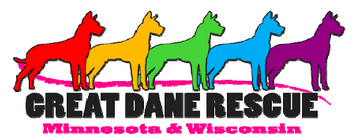 Great Dane Rescue of Mn and Wi (Siren, Wisconsin) logo of 5 Great Danes, multiple colors