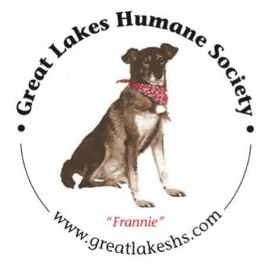 Great Lakes Humane Society (Traverse City, Michigan) logo with dog Frannie in circle