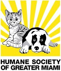 Humane Society of Greater Miami (North Miami Beach, Florida) logo is a dog & cat with rays of sunshine behind them