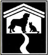 Green Hills Animal Shelter (Trenton, Missouri) logo is black and white with a dog and cat within a house