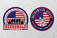 Greenawalds Service Inc (Houston, Texas) round logo; rescue dogs, helping veterans with PTSD