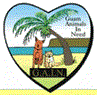 Guam Animals in Need (Yigo, Guam) logo is a heart with a dog and cat on a beach under a palm tree inside