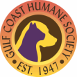 Gulf Coast Humane Society (Fort Myers, Florida) logo yellow/orange circle with a purple cat head inside a yellow dog's head