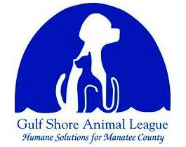 Gulf Shore Animal League (Bradenton, Florida) logo with blue ellipse with a white dog inside and blue cat inside the dog
