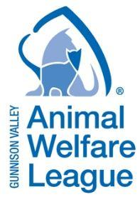 Gunnison Valley Animal Welfare League (Gunnison, Colorado) logo is two-tone blue with drawings of a cat and dog