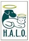 "Homeless Animal Lifeline Organization (Oakley, California) logo has a dog and cat with halos and ""H.A.L.O."" underneath them"
