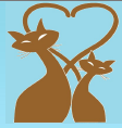 H.A.R.T.  ~ Homeless Animals Rescue Team (Mesa Arizona) logo is blue with two brown cats with tails that create a heart