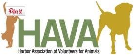 Harbor Association of Volunteers for Animals (HAVA) (Raymond, Washington) logo of cat & dog silhouettes on either side of HAVA