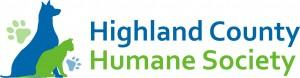 Highland County Humane Society (Monterey, Virginia) logo of green cat, blue dog & green pawprint