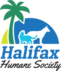 Halifax Humane Society (Daytona Beach, Florida) logo is blue containing a palm tree and sunset with a dog and cat