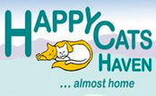 Happy Cats Haven (Colorado Springs, Colorado) logo with two napping cats and 'almost home' slogan
