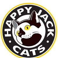 Happy Jack Cats (Meridian, Idaho) logo with black & white cat with gold eyes in center of black circle with gold outline
