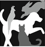 Harbor Humane Society (West Olive, Michigan) logo with black, white, gray silhouettes of dog, cat, bird, rabbit
