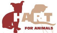 HART for Animals (Oakland, Maryland) logo is red, white, and light rose, their name & a dog and a cat