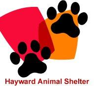 Hayward Animal Services Bureau (Hayward, California) logo has orange and red shapes with black pawprints