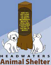Headwaters Animal Shelter (Park Rapids, Minnesota) logo has a dog and cat on each side of a tree trunk with a slogan on it