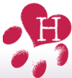 "Healing HEART Sanctuary (Lompac, California) logo is a red pawprint with an ""H"" inside"