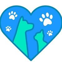 Heart of the Earth Sanctuary and Rescue (Cumberland, Maryland) logo is a heart with a dog, cat, and four pawprints inside