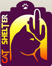 Hermitage No-Kill Cat Shelter (Tucson, Arizona) logo of cat, cactus, sunlight, cat shelter