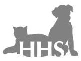 Hickman Humane Society (Centerville, Tennessee) logo of silhouette of dog & cat with HHS