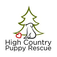 High Country Puppy Rescue (Flagstaff, Arizona) logo of outlines of heart, tree, puppy