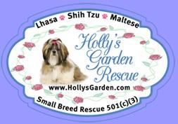 Holly's Garden Rescue (San Diego, California) logo of Lhasa image with organization name and flowers around the edge