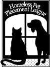 Homeless Pet Placement League (Houston, Texas) logo is a dog and cat looking out a window with the organization name above it