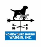 Homeward Bound Waggin, Inc (Quincy, Illinois) logo with black dog & grey cat on top of a weather direction indicator