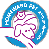 Homeward Pet Adoption Center (Woodinville, Washington) logo is a circle with a purple outline of a cat & dog