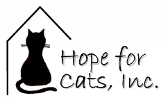 Hope for Cats (New Boston, New York) logo is a cat in the outline of a house next to the organization name