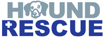 "Hound Rescue (Austin, Texas) logo is grey and blue. The ""O"" in ""Hound"" is the face of a beagle."