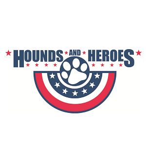 Hounds & Heroes (Marina del Rey, California) logo is red, white & blue with stars and stripes banner with a dog paw