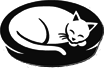 House of Dreams (Portland, Oregon) logo is a white cat sleeping on a black cat bed