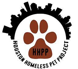 Houston Homeless Pet Project (Spring, Texas) logo is cityscape and their title in a circle with HHPP & a paw-print inside