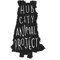 Hub City Animal Project (Spartanburg, South Carolina) logo is a sitting black dog with the organization name written on it