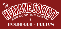 Humane Society of Aransas County (Fulton, Texas) logo is the organization name in white letters on a red background