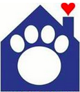 Humane Society for Hamilton County (Noblesville, Indiana) logo is a blue house with a paw print in the middle