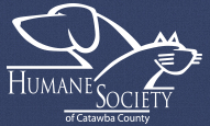 Humane Society of Catawba County (Hickory, North Carolina) logo is cat and dog outline in white on blue background