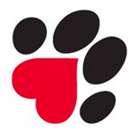 Humane Society of Memphis & Shelby County (Memphis, Tennessee) logo is a black and red pawprint with a heart paw pad