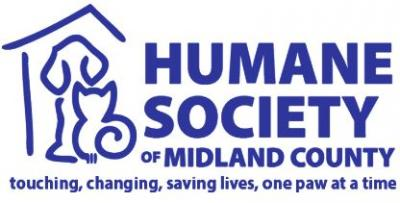 Humane Society of Midland County (Midland, Michigan) logo is a blue outline of a dog and cat inside a house next to the org name