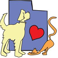 Humane Society of Moab Valley (Moab, Utah) logo has a dog and a cat in front of the state of Utah with a heart on it
