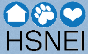 "Humane Society of Northeast Iowa (Decorah, Iowa) logo has circles with a heart, pawprint, and house inside over ""HSNEI"""