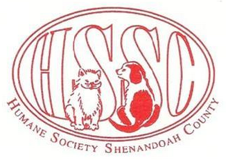 "Humane Society of Shenandoah County (Woodstock, Virginia) logo is a dog and cat inside an oval in front of ""HSSC"""